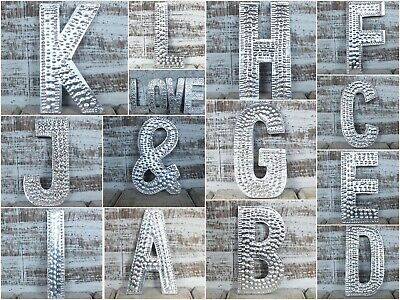 A-Z Alphabet Letters Silver Aluminium Wall Hanging Letter Sign Name Signs