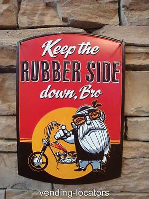 Rubber Side Down Bro Metal Plaque Motorcycle Old Man Man Cave Harley Indian NEW