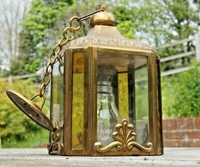 Vintage / Antique Ornate Brass And Glass Hall Lamp