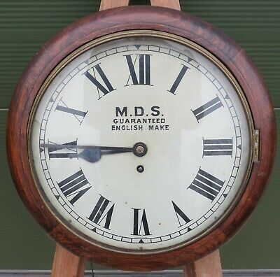 Vintage Oak Cased Platform School Wall Clock M.D.S. - *Needs Some TLC*
