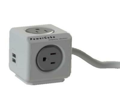 7400UKEUPC Allocacoc PowerCube 4-Way/2 USB Travel Plug with Extension Cable 1.5m