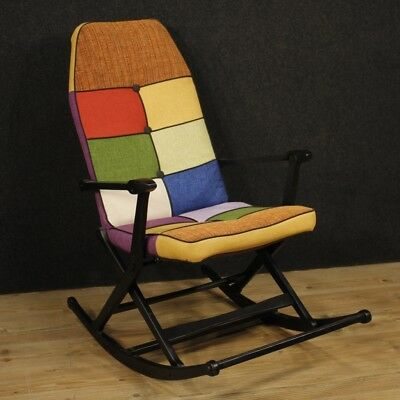 Armchair Rocker Furniture Seat Chair Italian Design Wood Lacquered Fabric 900