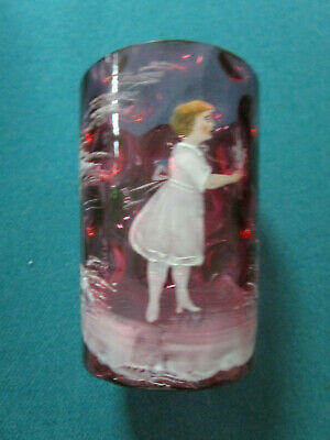 """Victorian Cranberry Coin Glass Hand Paited Girl 4"""" Tumbler"""