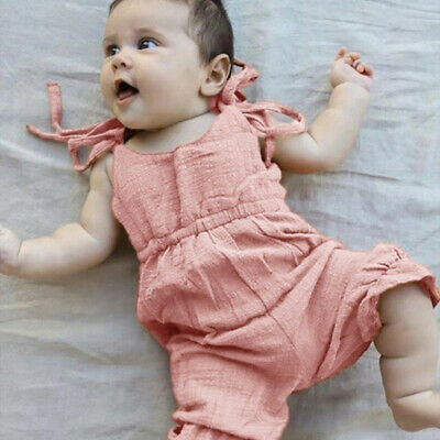 Newborn Baby Girl Boy Backless Striped Ruffle Romper Sling Jumpsuit Cloth 8C