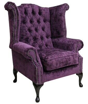 Chesterfield Queen Anne High Back Wing Chair Nuovo Plum Purple Fabric