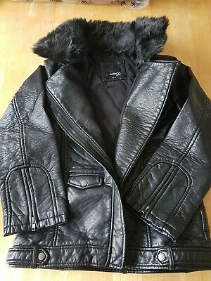 Barneys Girls Black Leather Look Biker Jacket with Fur Collar, BNWT, Aged 12-13