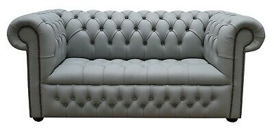 Chesterfield Edwardian 2 Seater Buttoned Seat Silver Grey Leather Sofa Settee DB