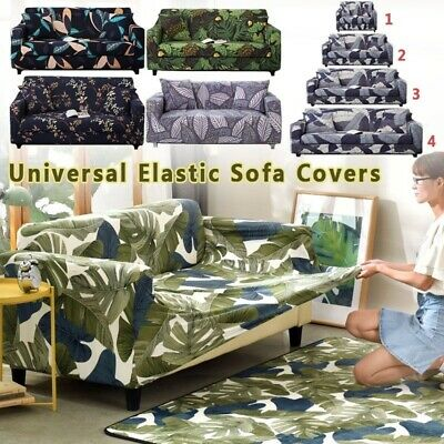 1-4 Seater Floral Printed Stretch Sofa Slipcover Washable Couch Protector Covers