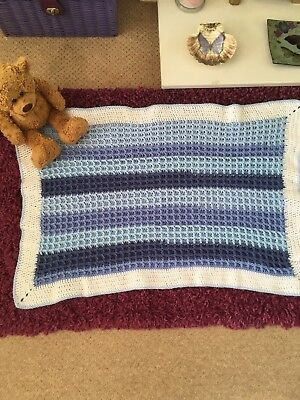 """Hand Crocheted Waffle Baby Blanket 30"""" By 23"""""""