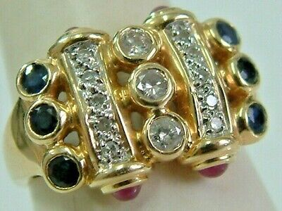 Designer Look 14K Chunky Broad Diamonds Sapphires Rubies Band Style Ring