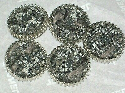CHANEL 5 AUTH.  BUTTONS  SILVER, BLACK GRAY  TWEED,  cc logo  22 MM NEW LOT 5