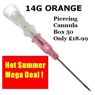 BODY PIERCING IV CANNULA 14G ORANGE 2.0mm STERILE BOX 50, FREE DEL **XMAS OFFER*