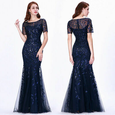 Ever-Pretty US Navy Blue Women Sequins Fishtail Bodycon Party Dress Gown 07707