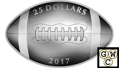 2017 'Football-Shaped and Curved' Proof $25 Silver Coin 1oz .9999Fine(17907)OOAK