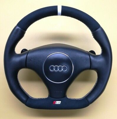 Steering Wheel Audi S4 B6 NEW ALCANTARA  !! STUNING FLAT BOTTOM / R8 2017 STYLE