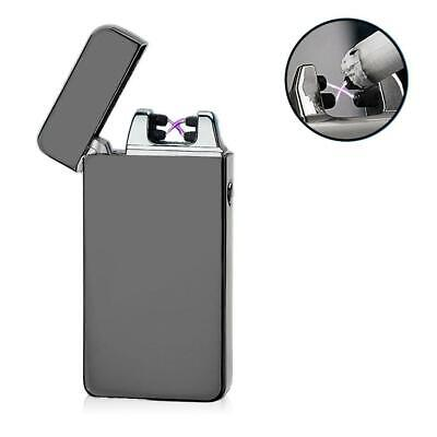 USB Electric Dual Arc Metal Flameless Torch Rechargeable Windproof Lighter JL