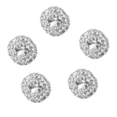 5x Sparkling 23mm Clear Crystal/Rhinestone Silver Sewing Buttons Shank Back