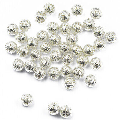 100 Silver Plated Round Ball Filigree Spacer Beads Braclet Charms Making 8mm