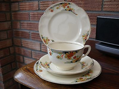 Art Deco Cup, Saucer & Side Plate Trio  'Victorian' pattern Johnson Brothers.