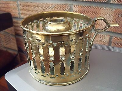 Victorian Brass Chamberstick Candleholder with Pierced Sides ~ Arts & Crafts era
