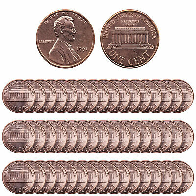 1991 Lincoln Memorial Cent BU Roll 50 US Coin Lot