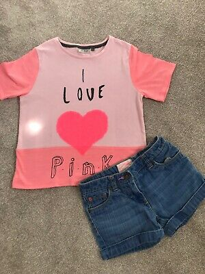 Girls Next Spring Summer Outfit Denim Shorts And T-shirt Age 9 Neon Pink Sequins