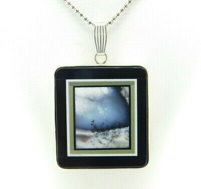 Kaufmann Intarsia Sterling Pendant with Genuine Natural Agate Inlay (#J4372)