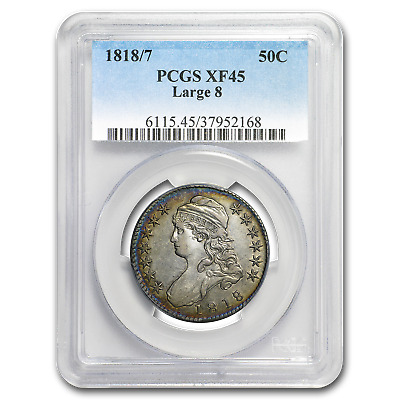 1818/7 Capped Bust Half Dollar XF-45 PCGS (Large 8) - SKU#190625