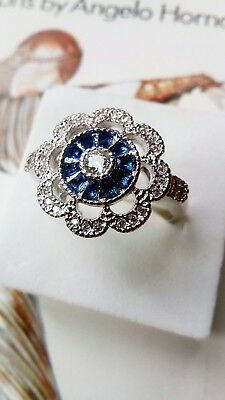 AD227 925 sterling silver Art Deco Vintage White Blue Sapphire Halo Ring R