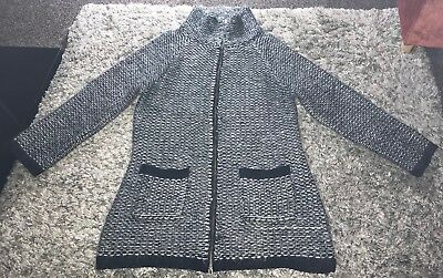 Phase Eight Black/ White Mohair Blend Funnel Neck Zip Up Coatigan Sz 10 Exc Cond