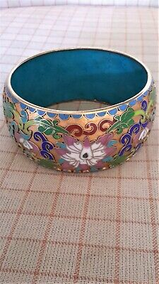 Cloisonne Bangle - Vintage 1960's - Chinese, Wide, X Large, Stunning!