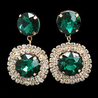 Earrings Style Victorian 3 Segments with Stones Precious Red Green Black Pearl