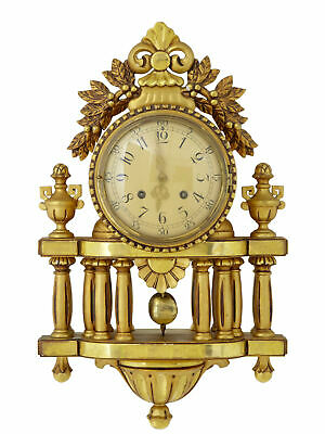20Th Century Swedish Gilt Carved Wood Ornate Wall Clock By Westerstrand