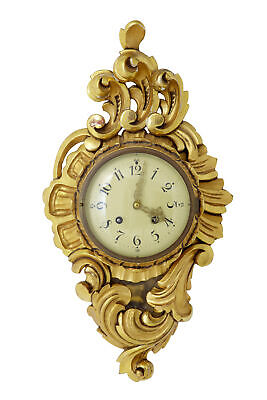 20Th Century Swedish Gilt Carved Ornate Wall Clock Ross Exacta