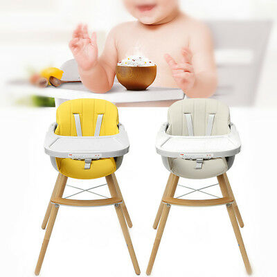 Baby High Chair Adjustable Wood Kid Toddler Childcare Highchair Feeding Tray