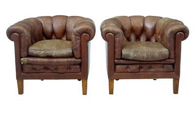 Pair Of 20Th Century Leather Lounge Armchairs