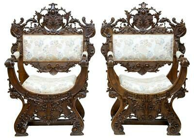 Pair Of Rare 19Th Century Savonarola Dantesca Italian Walnut Throne Armchairs