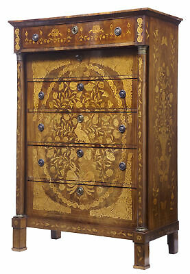 19Th Century French Inlaid Mahogany 6 Drawer Inlaid Chest