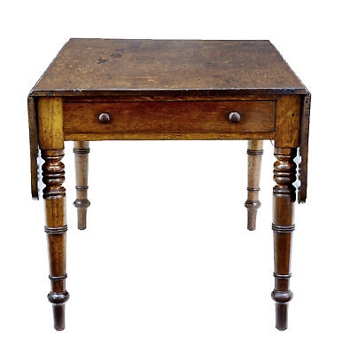 Victorian Antique Oak Dropleaf Table With Drawer