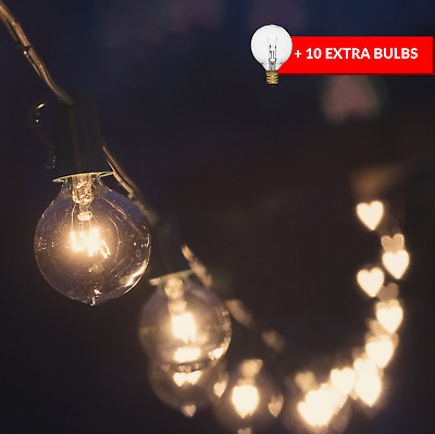 50ft Black String Lights, 60 G40 Globe Bulbs 10 Extra: Connectable, Waterproof,