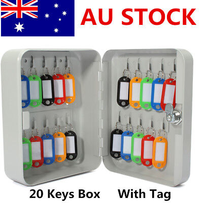 Lockable Security Metal Hook Key Cabinet Storage Box Fobs Wall Mounted + 20Tags