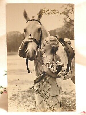Original Vintage 1930's Lady With Horse Sepia Colour French Postcard