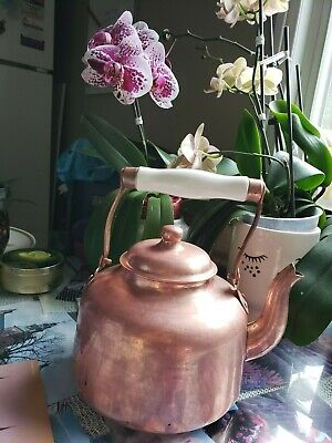 Vintage COBRE Mexican Copper Teapot Heavy Signed Aluminum Lined Made in Chile