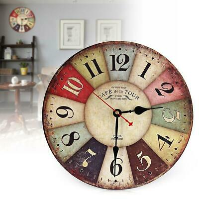 Large Vintage Wooden Wall Clock Antique Shabby Chic Retro Home Living Room UK