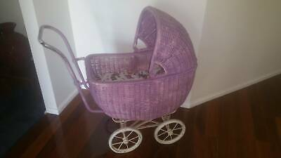 Vintage Collector Childrens Doll Cane Wicker Pram
