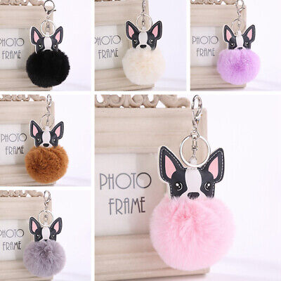 8cm Fluffy Dog Ear Key Chain Keyring Soft Ball Pompom Handbag Pendant Decor Toy