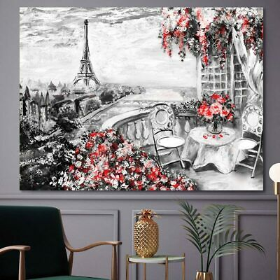 Decoration home canvas painting Landscape Eiffel tower with flower wall picture