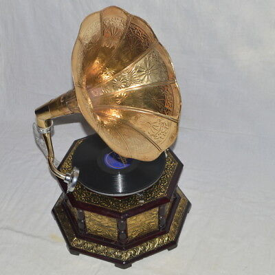 Graceful Nautical Fully Working Octagonal Gramophone With Brass Craft Base Horn