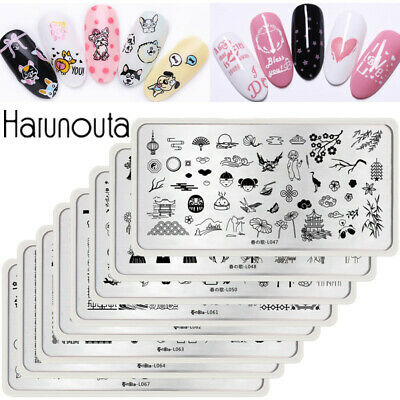 Harunouta Stamping Plates Flowers Rectangle Animals Culture Nail Art Templates
