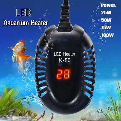 New Aquarium Fish Tank LED Digital Heater Submersible Thermostat UK Ship 25-100W